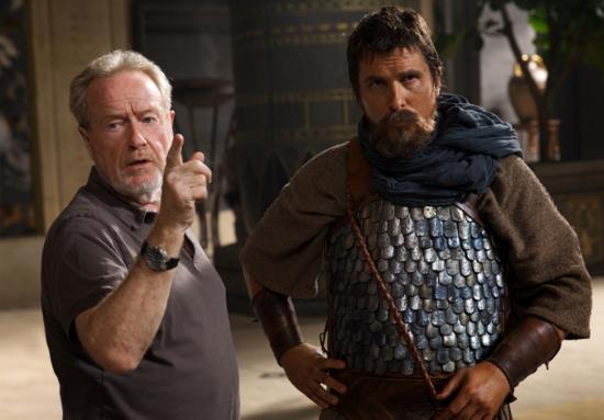 Ridley Scott y Christian Bale en el rodaje de 'Exodus'